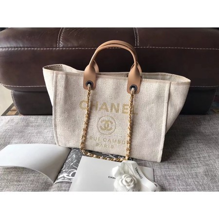 Chanel Canvas Original Leather Shoulder Shopping Bag A2369 creamy