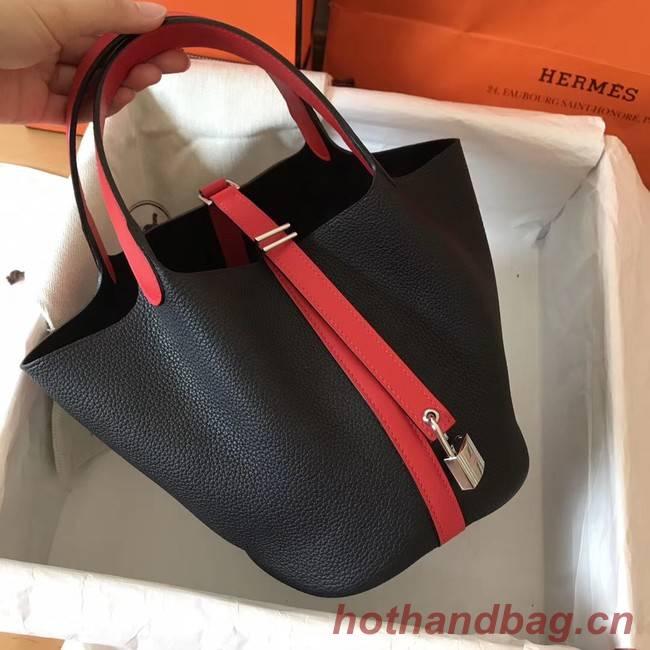 Hermes Picotin Lock PM Bags Original Leather H8688 black&red
