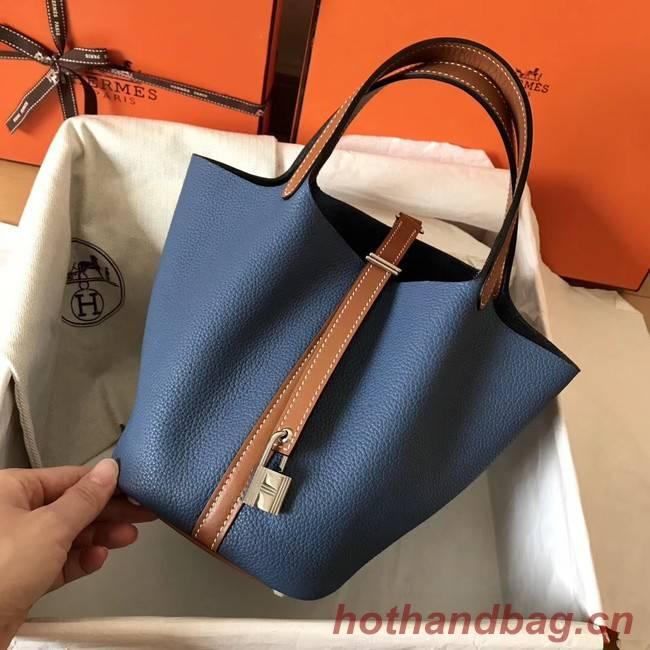 Hermes Picotin Lock PM Bags Original Leather H8688 blue&brown