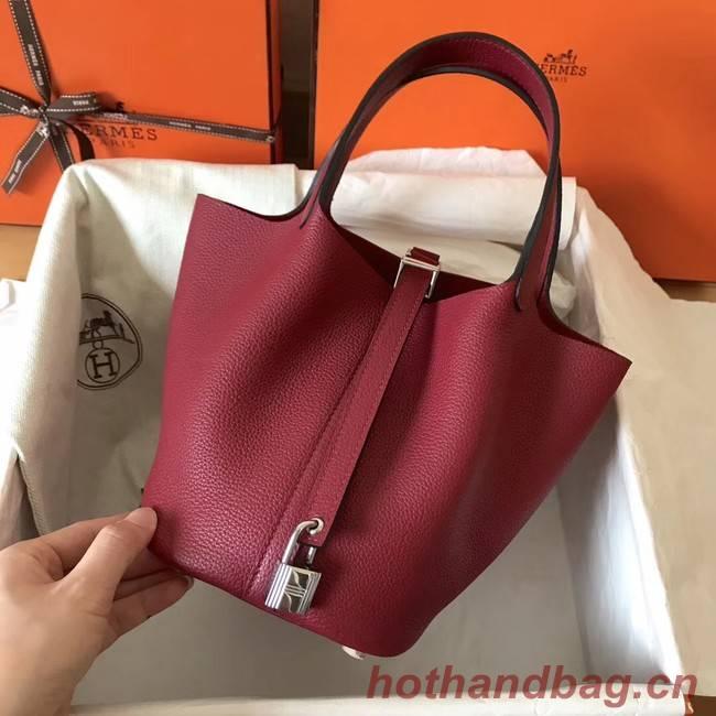 Hermes Picotin Lock PM Bags Original Leather H8688 wine red
