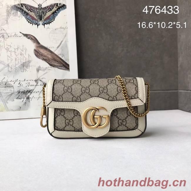 Gucci GG Supreme canvas 476433 Mini Shoulder Bag white