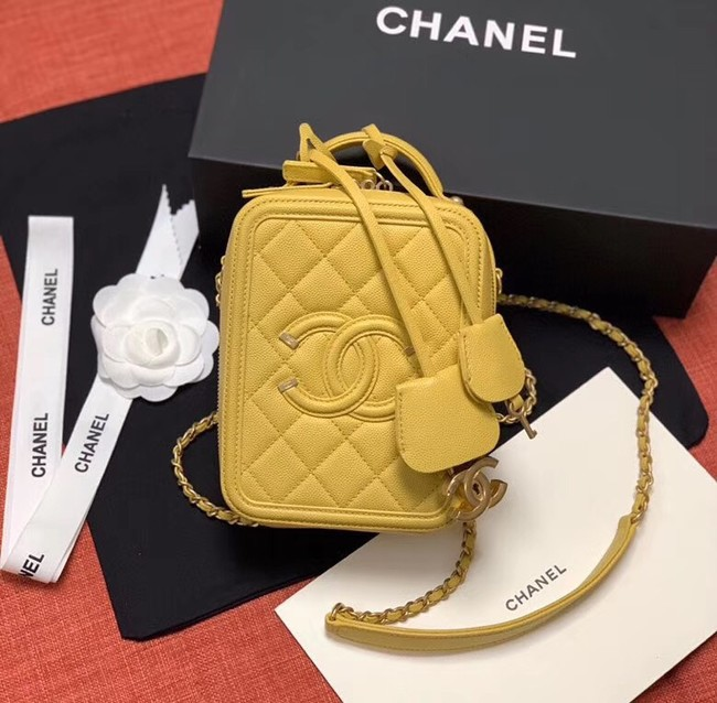 Chanel vanity case  Grained Calfskin & Gold-Tone Metal AS0988 yellow