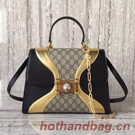 Gucci GG original medium top handle bag 476435 black&gold