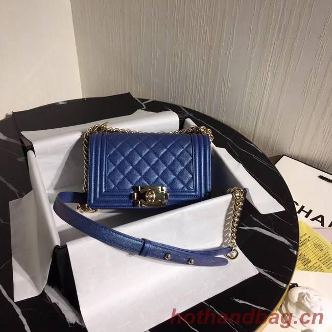 Boy Chanel Flap Shoulder Bag Original Leather Blue A67085 Gold