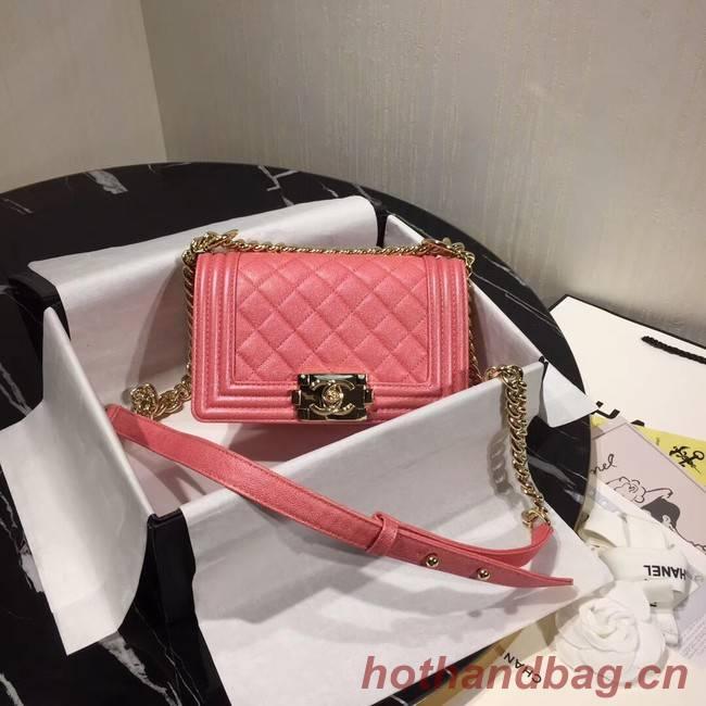 Boy Chanel Flap Shoulder Bag Original Leather Pink A67085 Gold