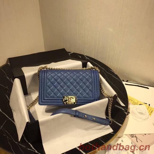 Chanel Le Boy Flap Shoulder Bag Original Leather Blue A67086 Gold