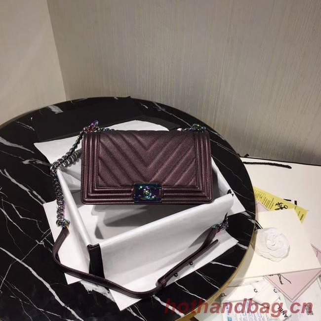 Chanel Le Boy Flap Shoulder Bag Original Leather Purple A67086 Gold
