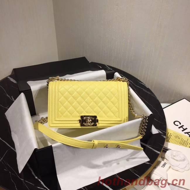 Chanel Le Boy Flap Shoulder Bag Original Leather Yellow A67086 Gold