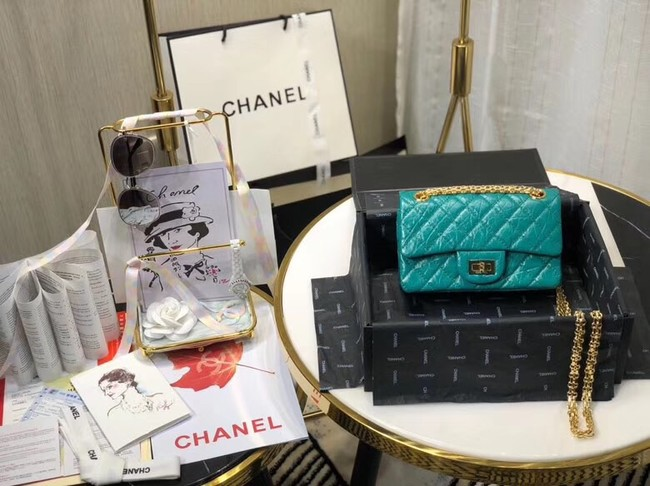 Chanel Shoulder Bag Original Leather Green AS0874 Gold