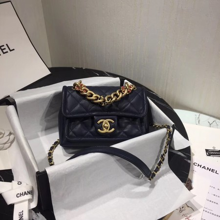 Chanel Shoulder Bag Original Leather Navy 50937 Gold