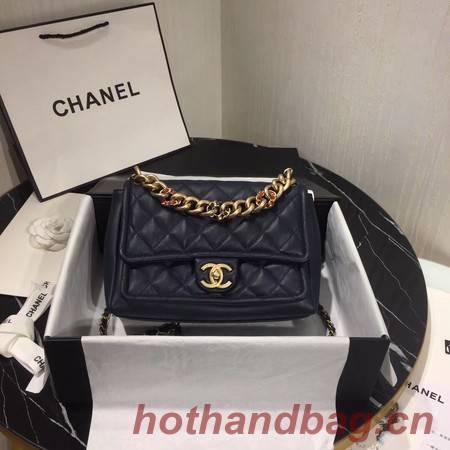 Chanel Shoulder Bag Original Leather Navy 50938 Gold