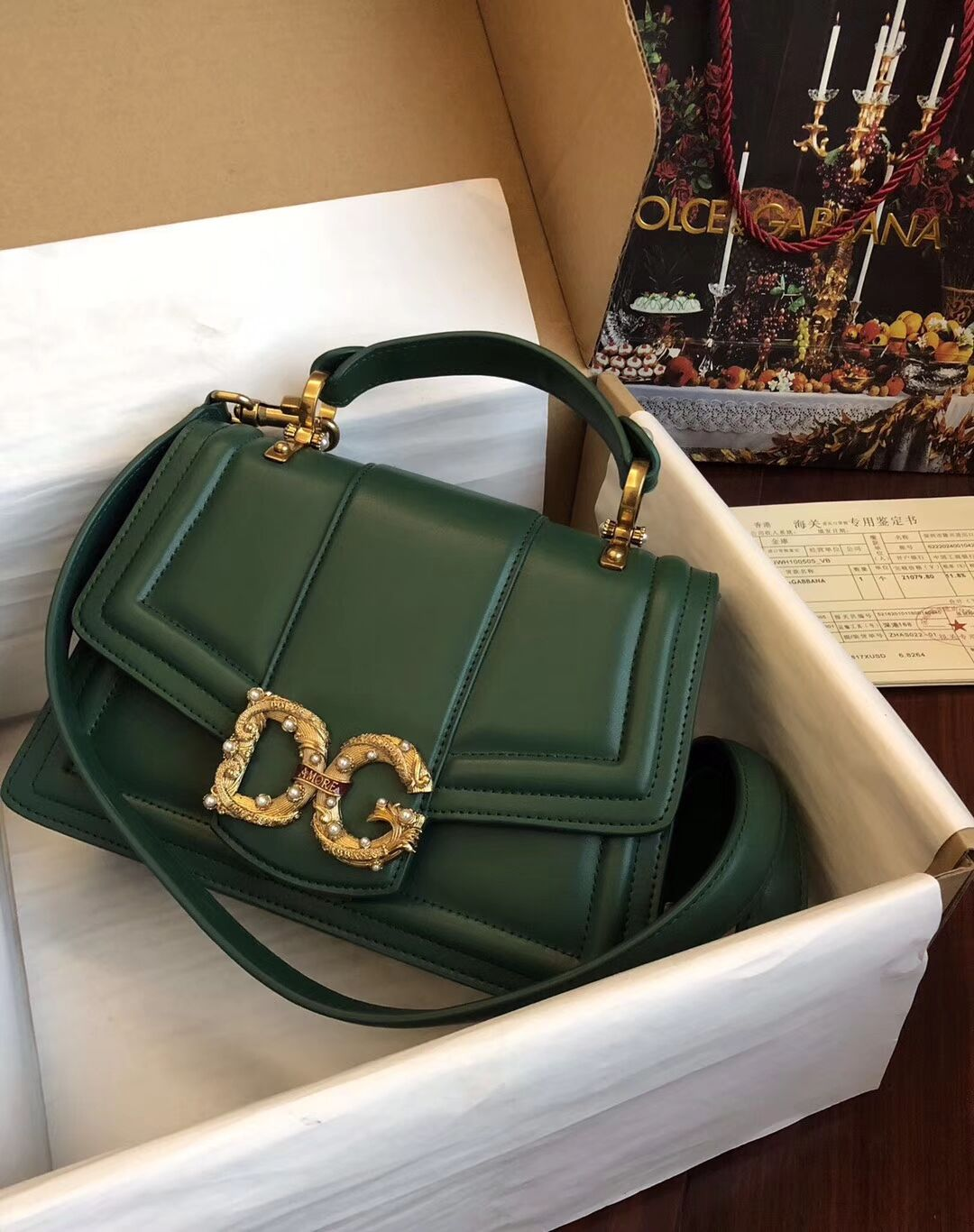 Dolce & Gabbana Origianl Leather Bag 4916 Green