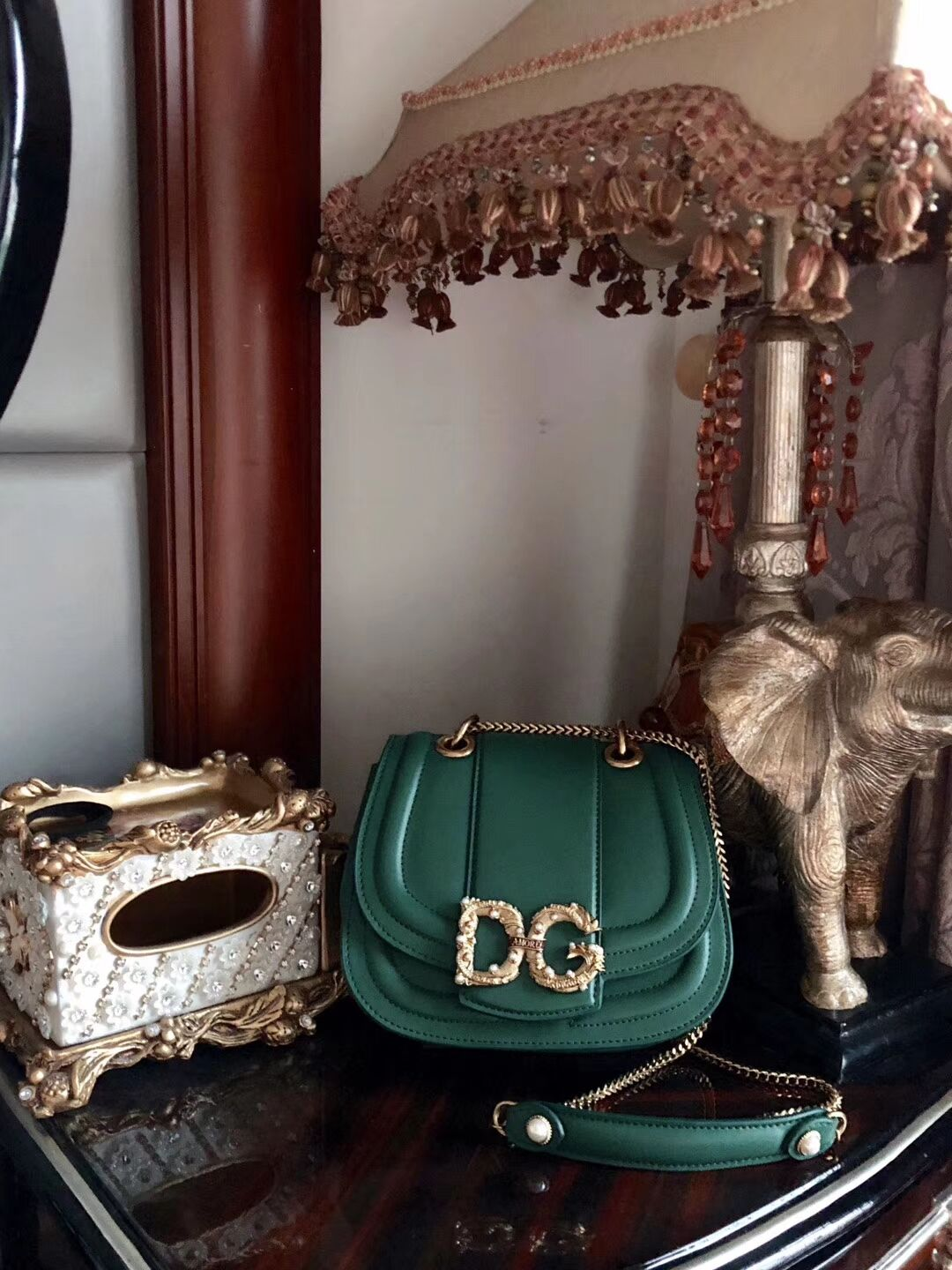 Dolce & Gabbana Origianl Leather Bag 4917 Green