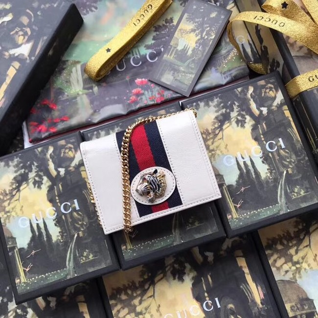 Gucci Rajah chain card case wallet 573790 White