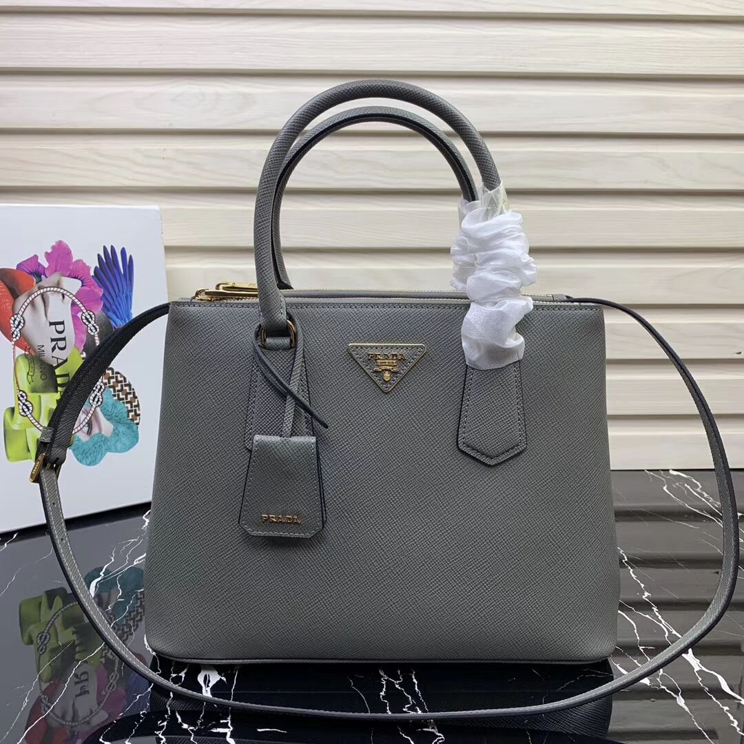 Prada Galleria Saffiano Leather Bag 1BA232 Grey