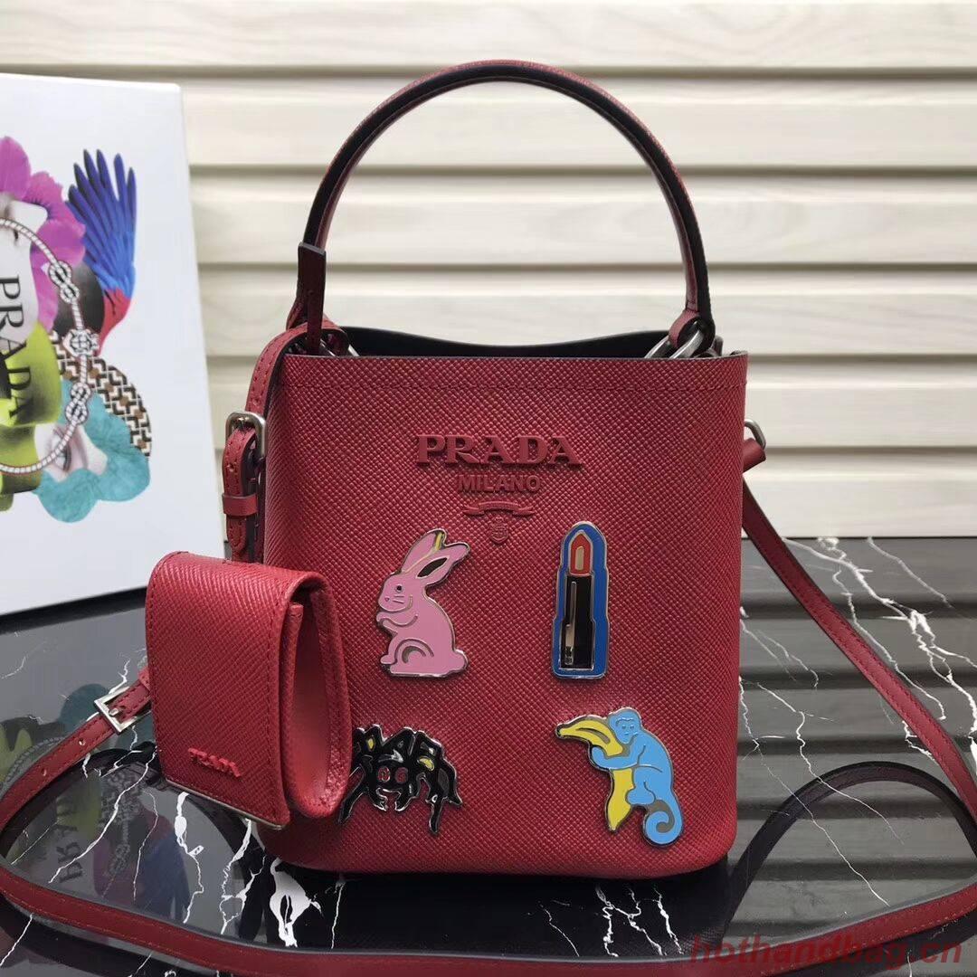 Prada Panier small Saffiano Bag 1BA217 Red