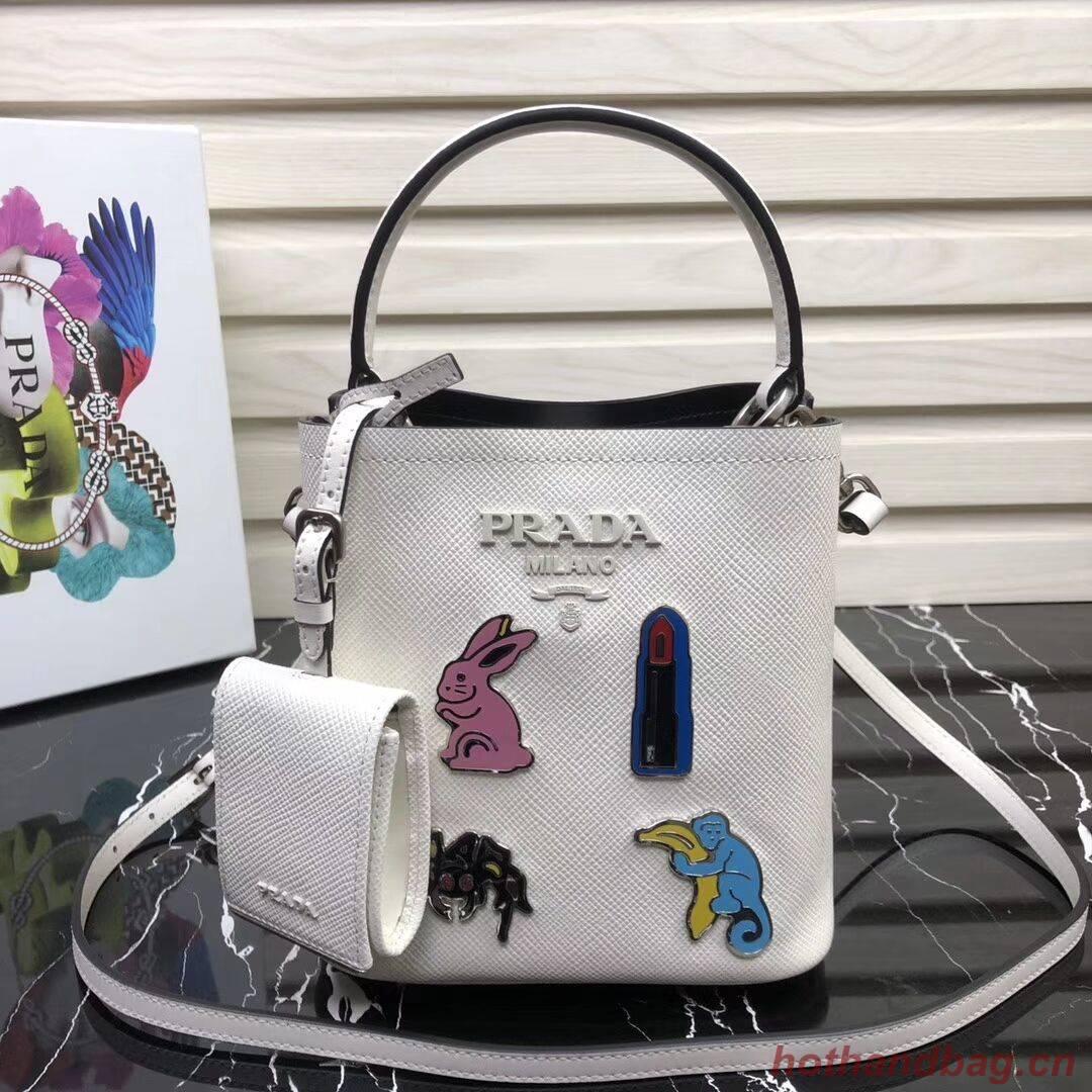 Prada Panier small Saffiano Bag 1BA217 White