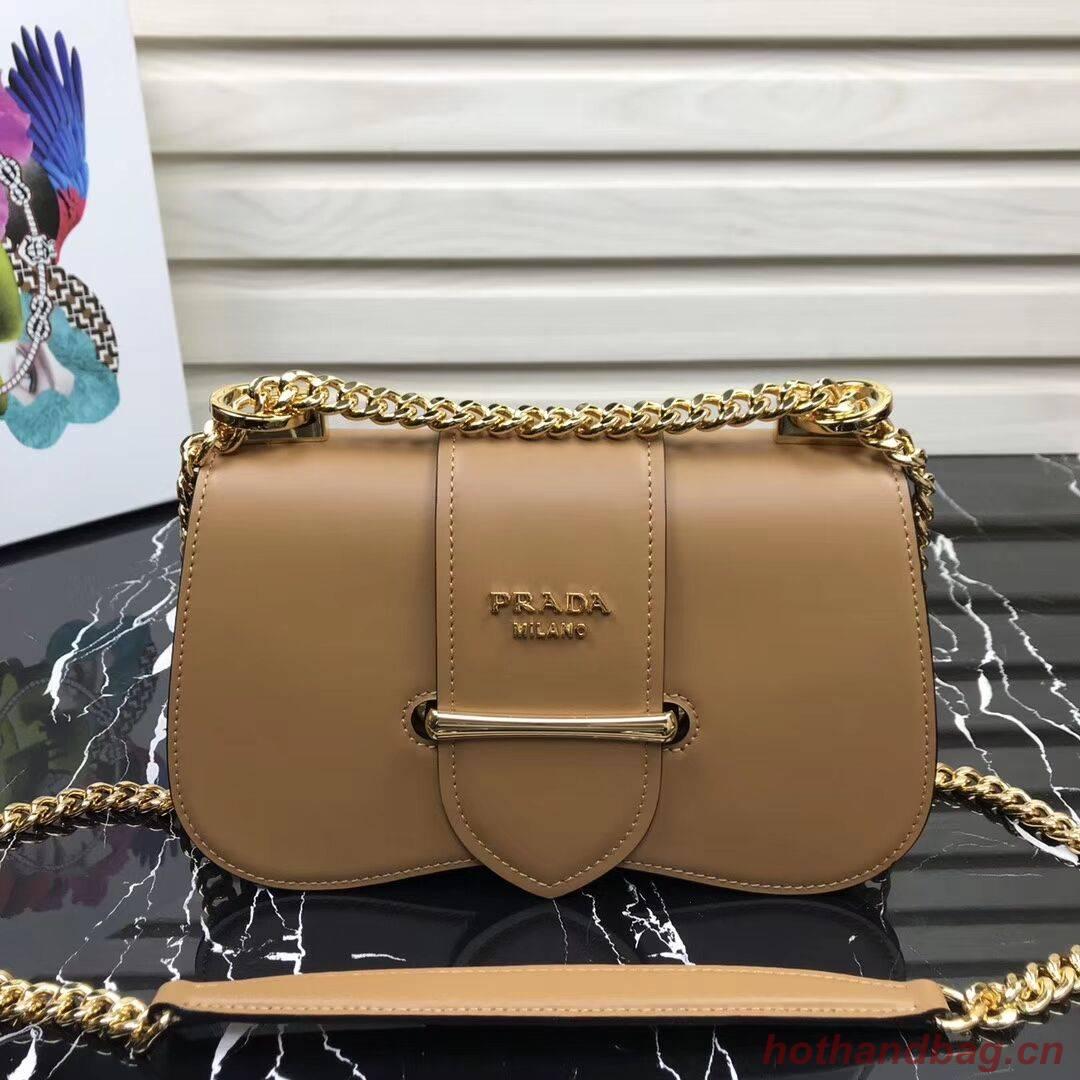 Prada Sidonie leather shoulder bag 1BD184 Brown