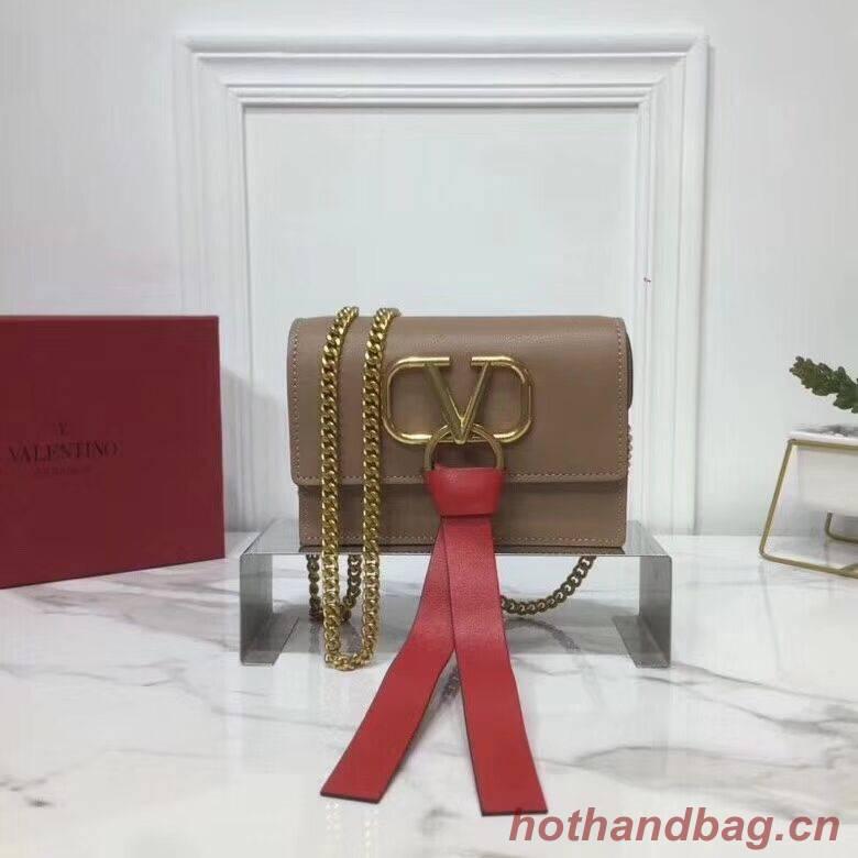 VALENTINO Origianl Leather Bag V0009 Apricot