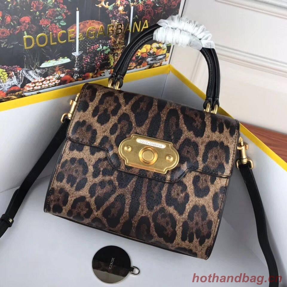 Dolce & Gabbana Leopard Leather Top Handle Bag DG8588 Brown