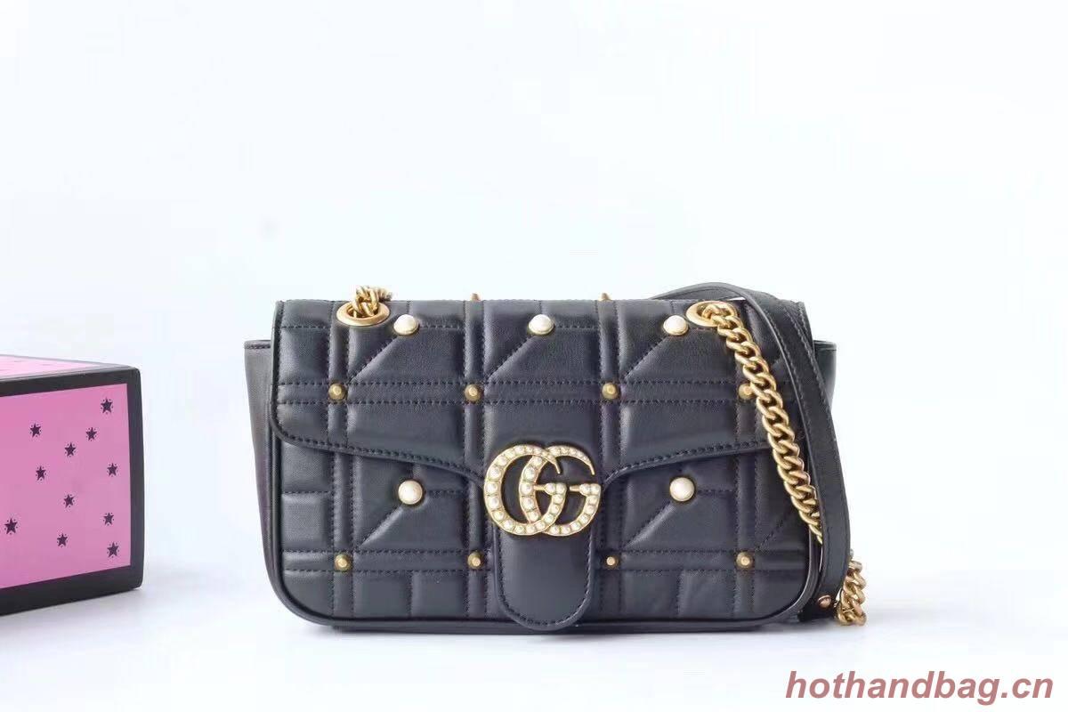 Gucci Now Marmont Mmatelasse Shoulder Bag 443497 Black