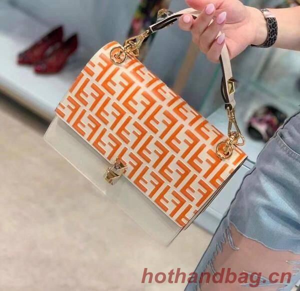 FENDI Kan I Leather Shoulder Bag 8BT283A Orange