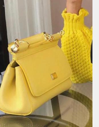 Dolce & Gabbana SICILY Bag Calfskin Leather 4139 yellow