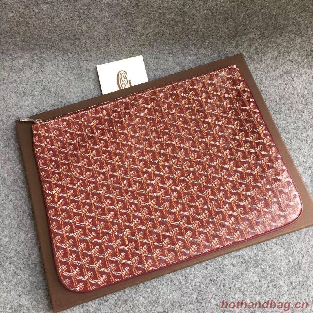 Goyard Y Doodling Calfskin Leather Clutch bag 5987 Red