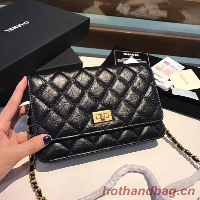 Chanel Calfskin & Gold-Tone Metal S33814 black