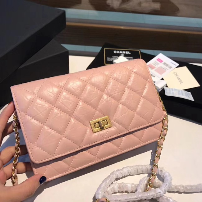 Chanel Calfskin & Gold-Tone Metal S33814 pink