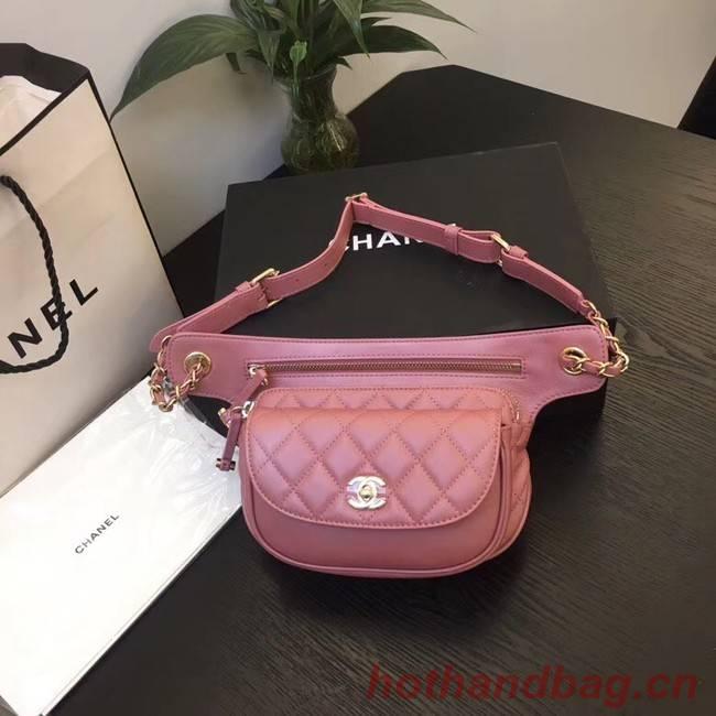 Chanel Original Leather Belt Bag Red SA0814 Gold