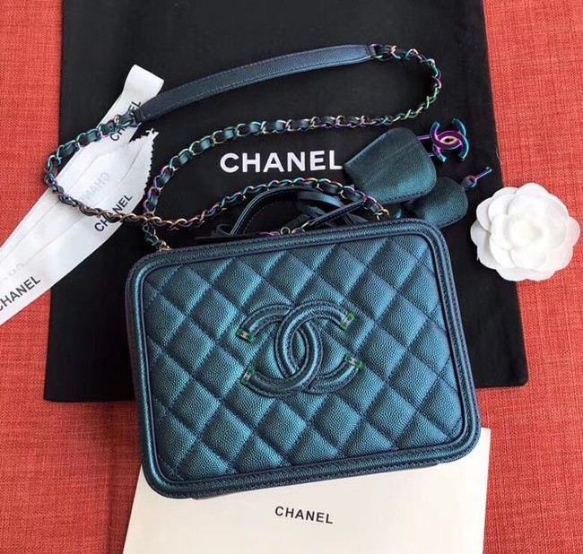 Chanel Original Leather Cosmetic Bag A93343 Blue