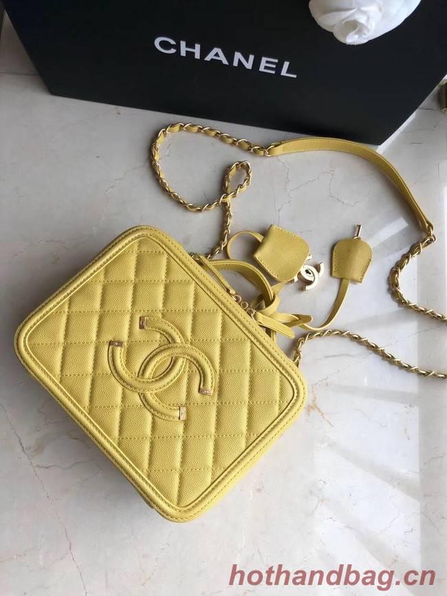 Chanel Original Leather Medium Cosmetic Bag 93443 Yellow