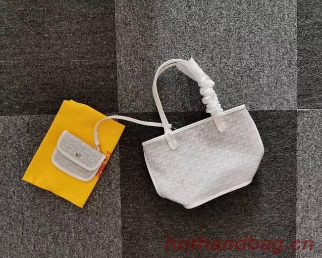 Goyard Calfskin Leather Mini Tote Bag 6782 Light Grey