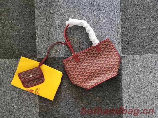 Goyard Calfskin Leather Mini Tote Bag 6782 Wine