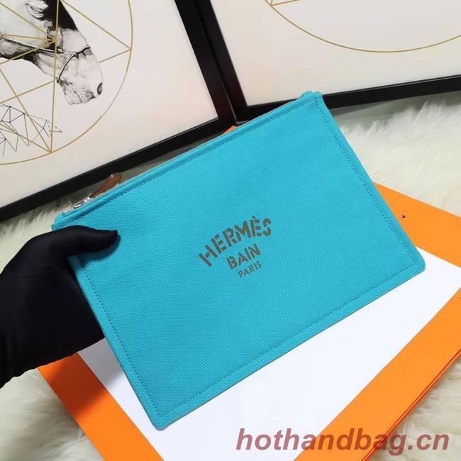 Hermes Cosmetic Bag H3700 Light Blue