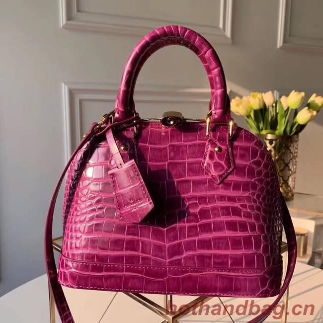 Louis Vuitton Crocodile Pattern Leather Bag  ALMA BB N90897 Purple