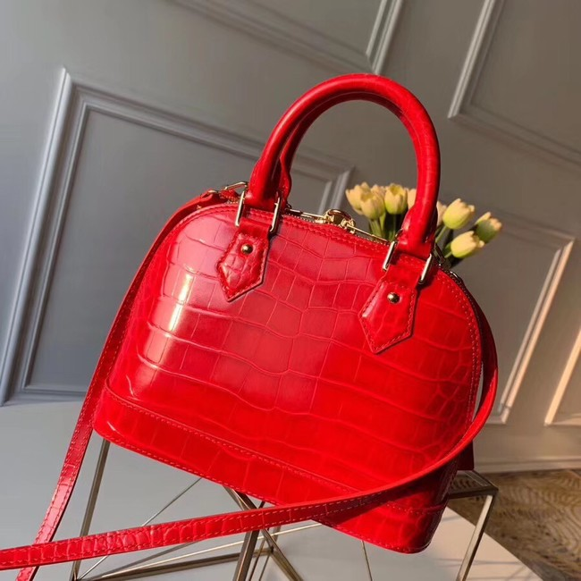 Louis Vuitton Crocodile Pattern Leather Bag N90897 Red