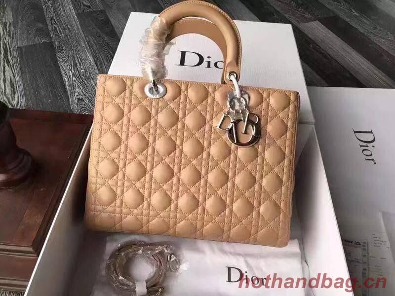 Lady Dior Bag Original Sheepskin Leather Middle Bag CD6323 Apricot