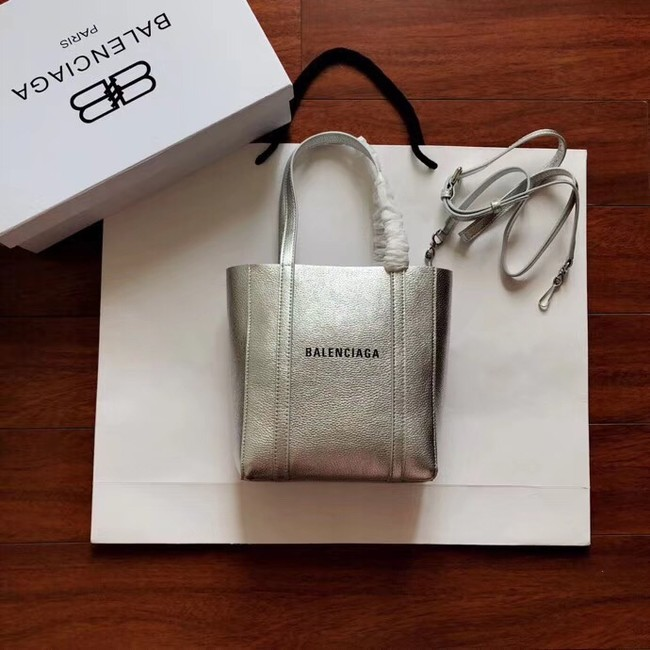 Balenciaga Original Leather Mini Shopper Bag 6696 Silver