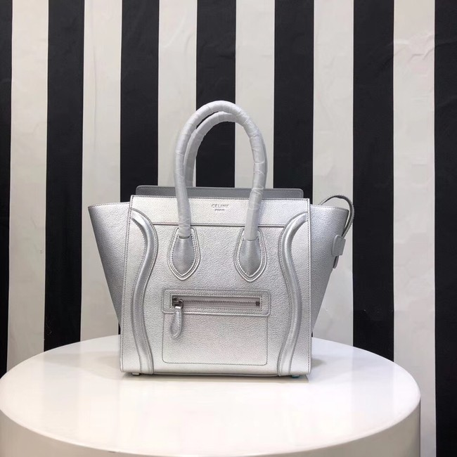 CELINE MICRO LUGGAGE HANDBAG IN LAMINATED LAMBSKIN 167793-26 silver