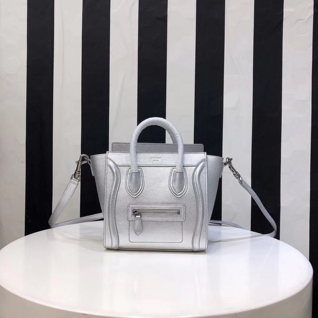 CELINE NANO LUGGAGE BAG IN LAMINATED LAMBSKIN 189244-26 silver