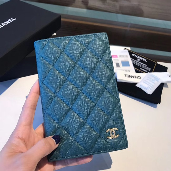 Chanel Calfskin Leather & Gold-Tone Metal Wallet A80385 Blue