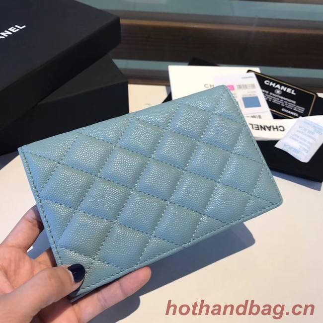 Chanel Calfskin Leather & Gold-Tone Metal Wallet A80385 Light Sky Blue