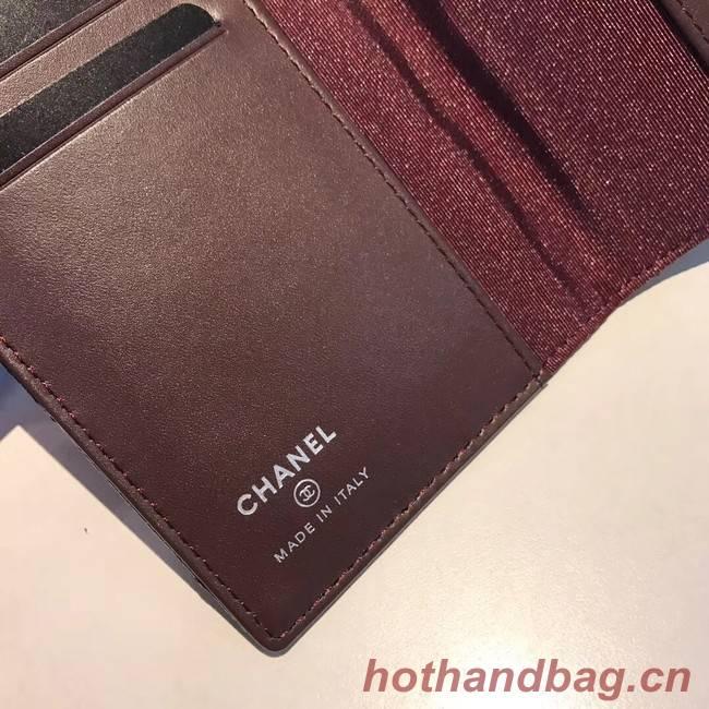 Chanel Calfskin Leather & Silver-Tone Metal Wallet A80385 Black