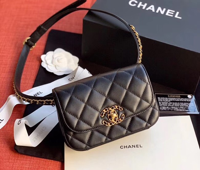 Chanel Original Sheepskin Leather Belt Bag Black 33866 Gold