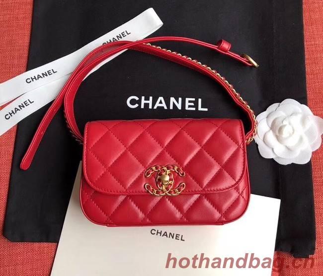 Chanel Original Sheepskin Leather Belt Bag Red 33866 Gold