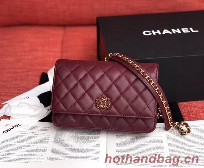 Chanel Original Sheepskin Leather Belt Bag Wine 33866 Gold