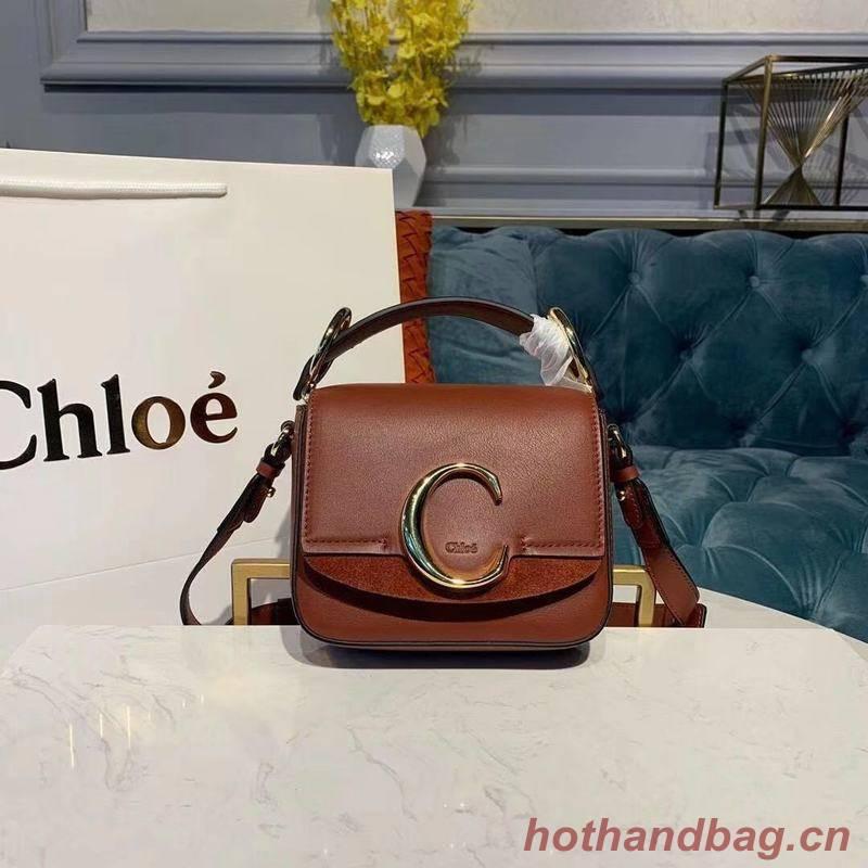 Chloe Original Calfskin Leather Top Handle Small Bag 3S030 Brown