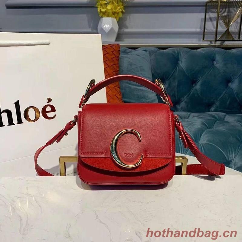 Chloe Original Calfskin Leather Top Handle Small Bag 3S030 Red